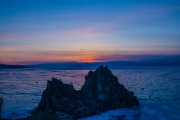 Sunset lake Baikal
