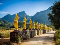 Driveway with Buddhas