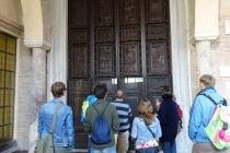 Very old wooden door in Basilica