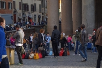 Outside Pantheon street vendors selling bags