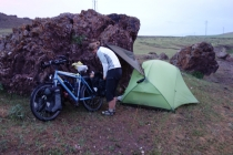 Wild camping with rain on its way
