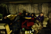 Hanging out in the hostel with blankets
