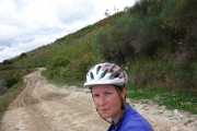 Tough gravel road and worried face