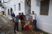 Slaughtering a sheep outside our hostel
