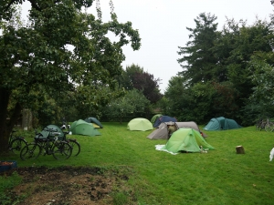 Camping in the orchard.