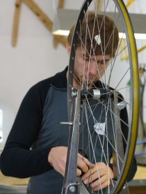 Working on the spokes.