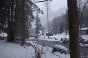 View of our campsite in the early morning with snow