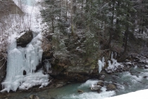 Icy waterfall and river