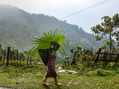 Local women with rainprotection