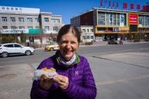 Susanne enjoying a savory pancake