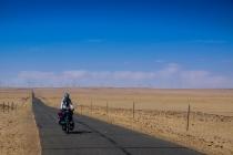 Long straight roads in the Gobi