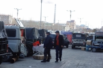 Jeeps in Erlian center waiting for people and goods