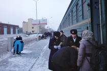 Getting on to the train to Ulaanbaatar