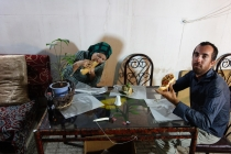 Eating local falafel in Mashhad with David