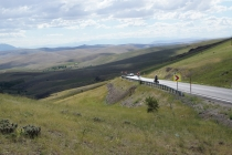 Headwind and uphill with a view
