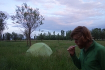 Wild camping in field