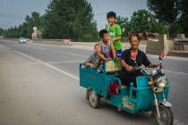 Happy family on the road