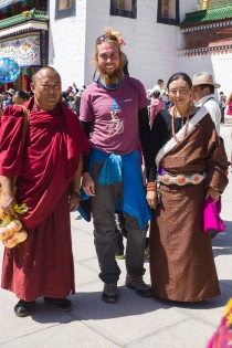 A picture with a monk and a local woman