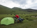 Camping in grasslands