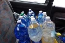 Filled water bottles