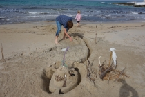Building a fort from sand