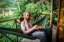 Enjoying papaya at our bungalow