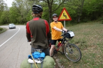 Meeting German cyclist on the road