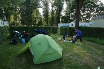 Camping Municipal in Mirepoix. After this the mountains will start.