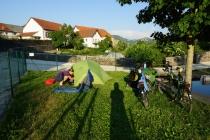 Camping in the village park in Garaioa.