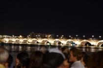 Bordeaux bridge by nighttime.