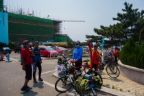 Group of cyclists who pointed us to the ferry to cross Qingdao