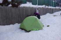 Camping at minus 7 degrees