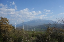 Mountain view with windmills