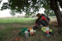 Tea, dough, bread, cheese and jam in a field