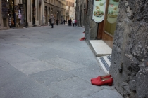 Red shoes lined the streets because of International Women day