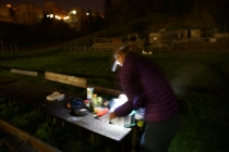 Cooking ourselves in a park behind the city center of Siena