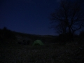 Camping on a hill just outside Castell Azzara