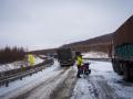 Slippery road and stuck trucks