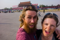 In the background the Forbidden city