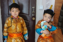 Two cute boys in traditional clothing