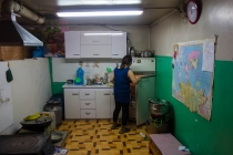 Kitchen with world map