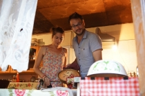 Brice and Marion making a cake