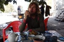 Drinking tea and eating in Denau