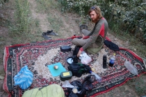 Camping in an orchard, nice and homey