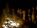 Huge campfire and farmer friends