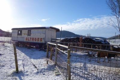 Circus wagon with snow